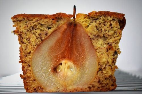 {GF} Banana Bread with Gluhwein Poached Pears 17