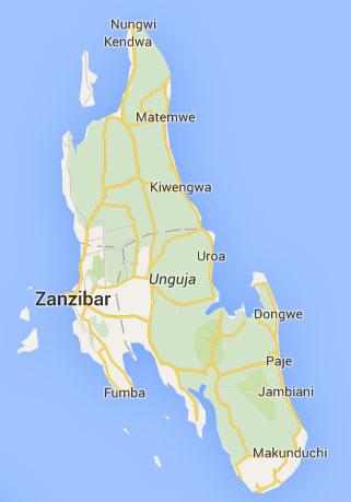 KendwaNungwiMatemwe locations on Zanzibar map
