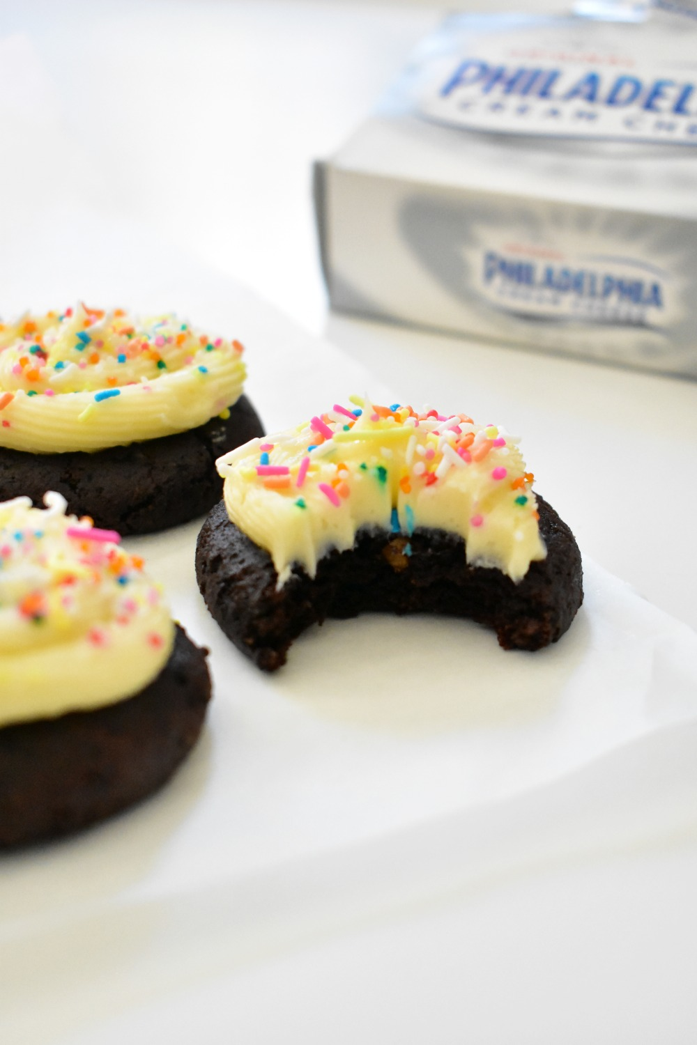 Dark Chocolate Cookies with Cream Cheese Frosting 6
