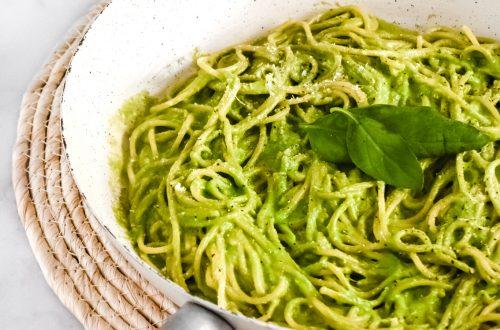 15 Minute Budget Basil Pesto Pasta