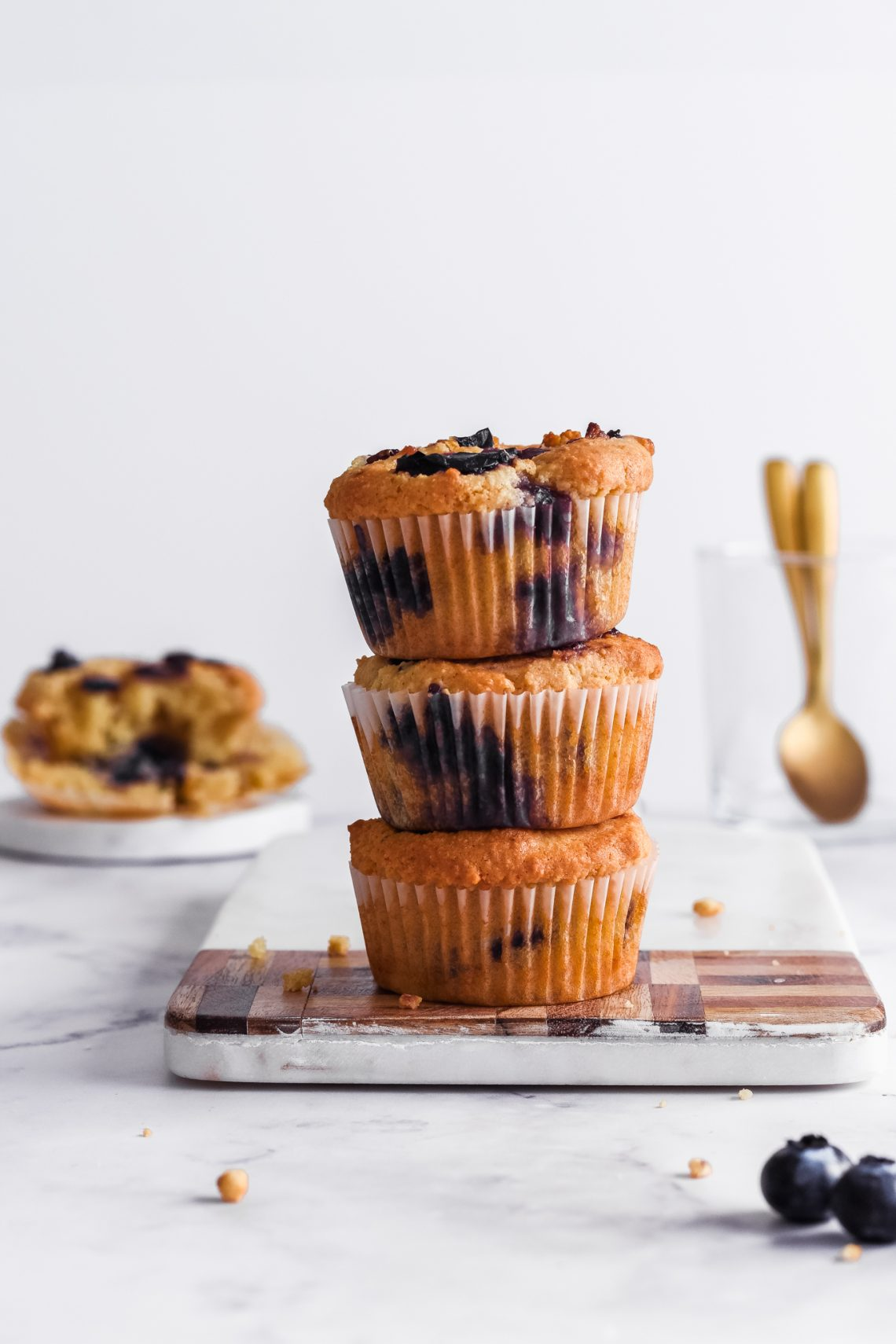 Small Batch Almond Flour Blueberry Muffins