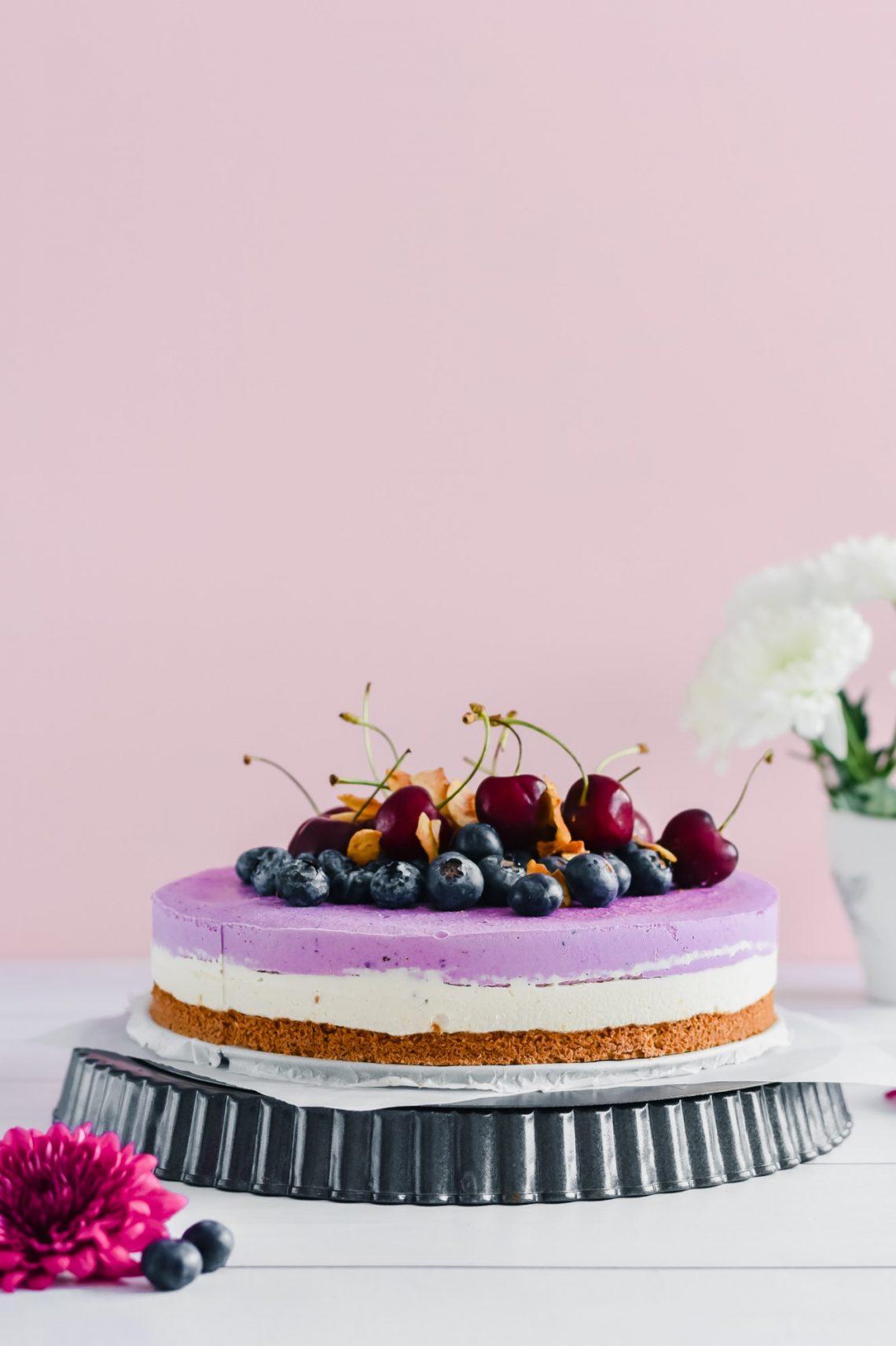 3 Layered Vegan Blueberry Cheesecake 10