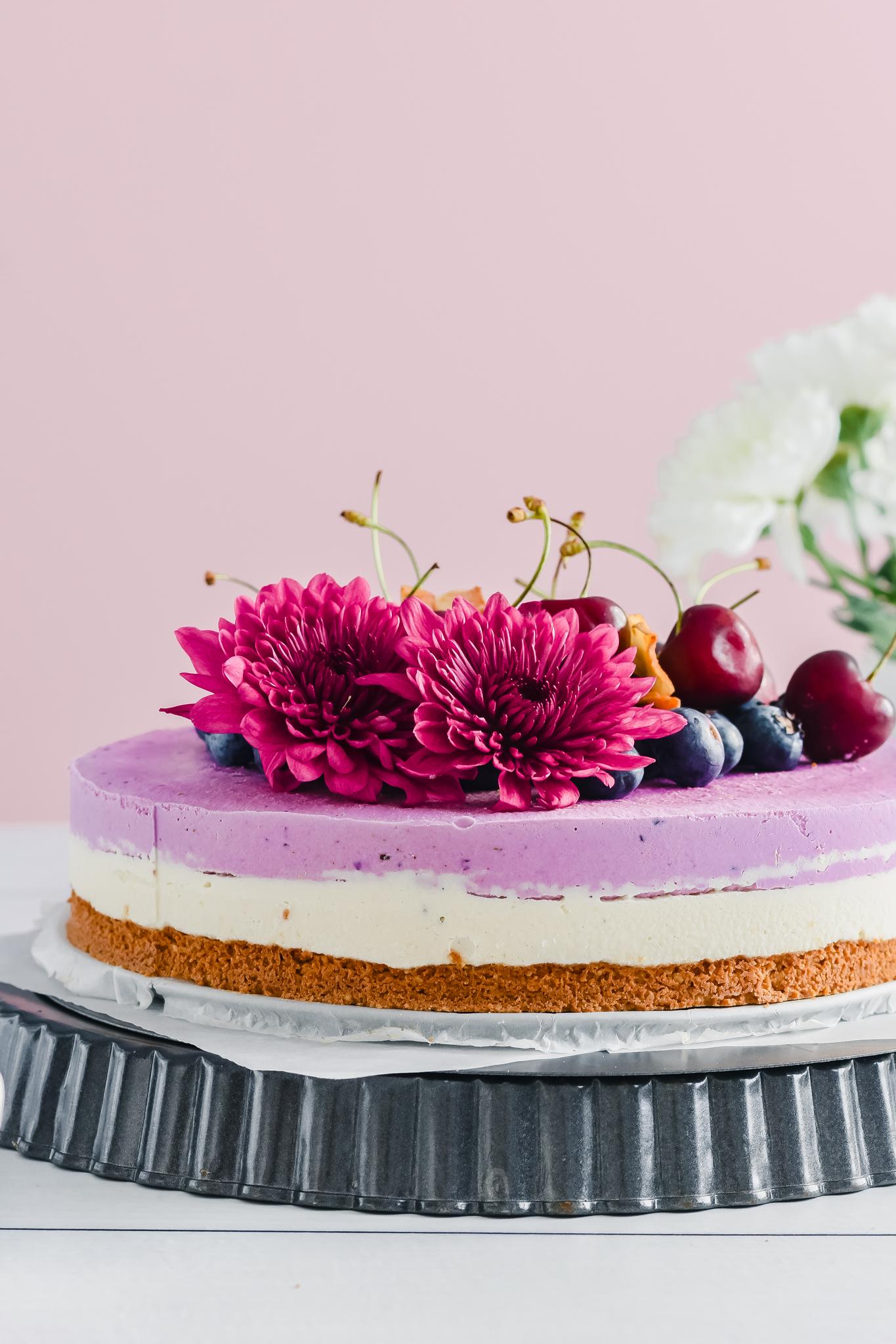 3 Layered Vegan Blueberry Cheesecake
