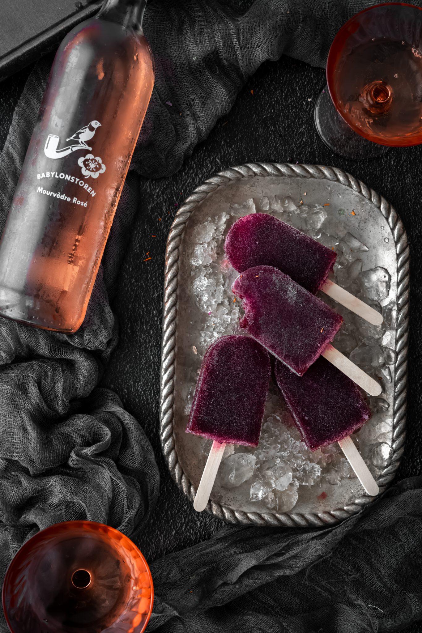 blueberry rosé ice lollies.